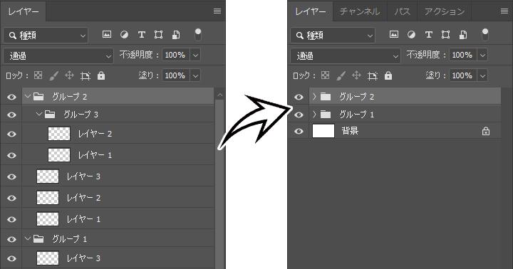 PhotoshopJSXで「すべてのグループを折りたたむ」をショートカット化する